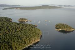 Portland Island with Hood Island and the Tortoise Islets, Southern Gulf Islands, British Columbia, Canada.