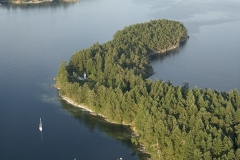 Aerial photo of boats at anchor at of Russell Island, Gulf Islands National Park Reserve