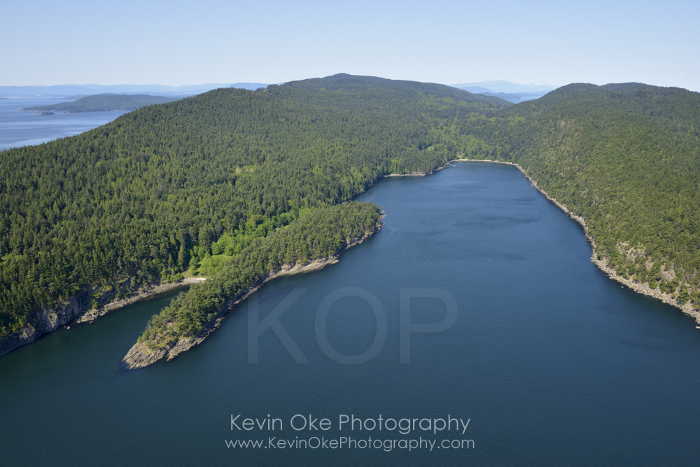 Aerial photo of Narvaez Bay, Gulf Islands National Park Reserve of Canada, Saturna Island, British Columbia, Canada.