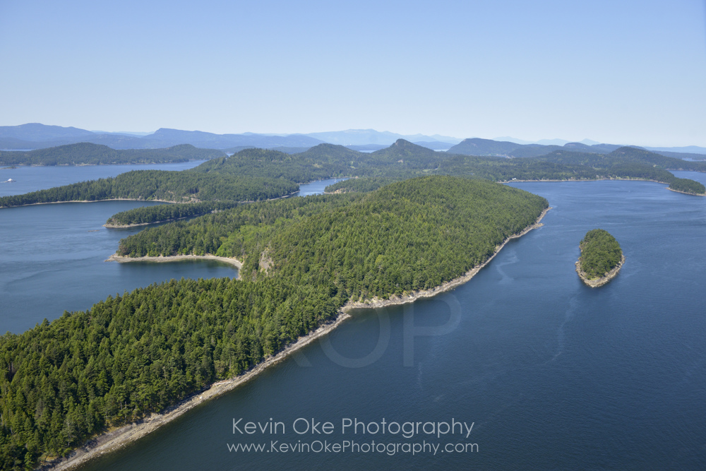 Samuel Island with Mayne Island in the background, British Columbia, Canada.