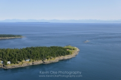 Aerial photograph of East Point, Saturna Island, British Columbia, Canada.