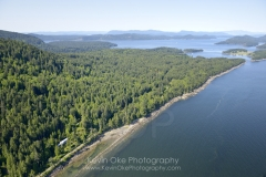Aerial photo of the east side of Saturna Island on the Georgia Strait, Saturna Island, British Columbia
