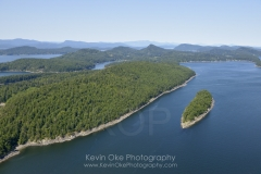 Aerial photo of Samuel Island with Mayne Island in the background, British Columbia, Canada.