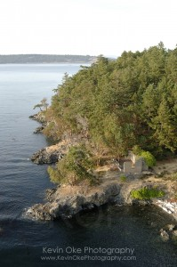 Aerial photograph of  some of the ruins of the leper colony on D'Arcy Island