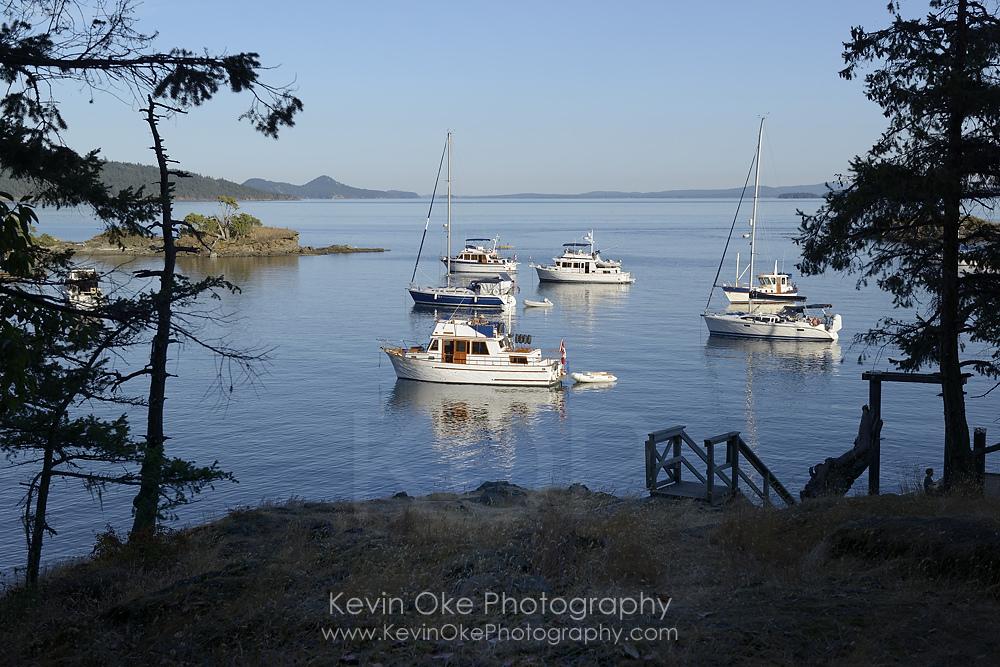 Boats anchored at Princess Bay, Portland Island