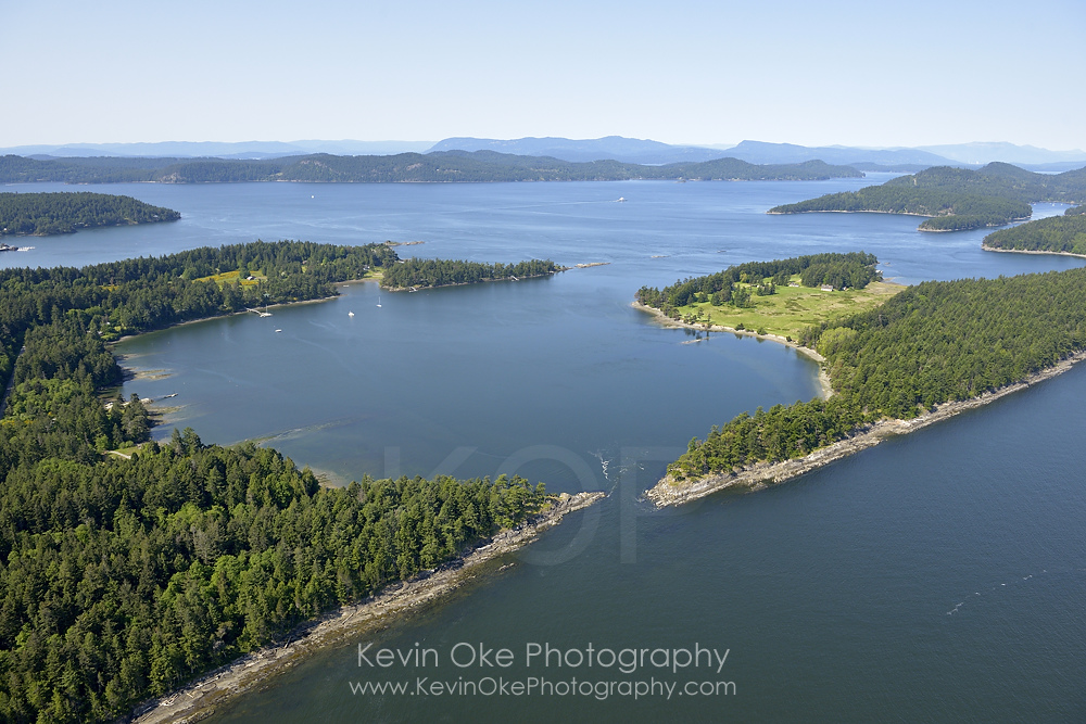 Aerial photo of Winter Cove and Boat Passage, Saturna Island