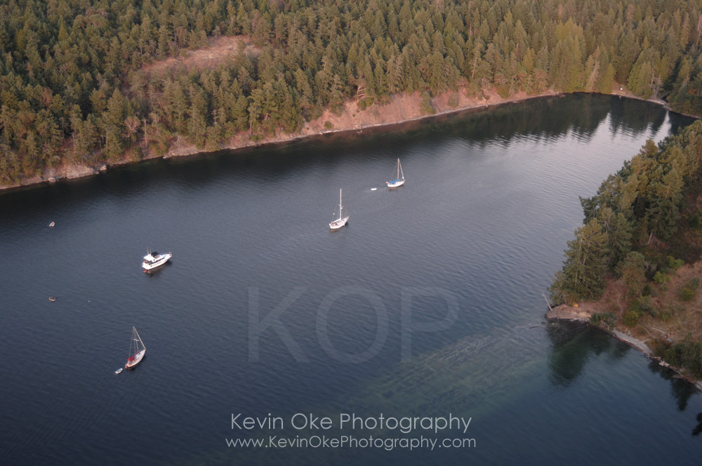 Aerial photograph of Prevost Island, Southern Gulf Islands, British Columbia, Canada