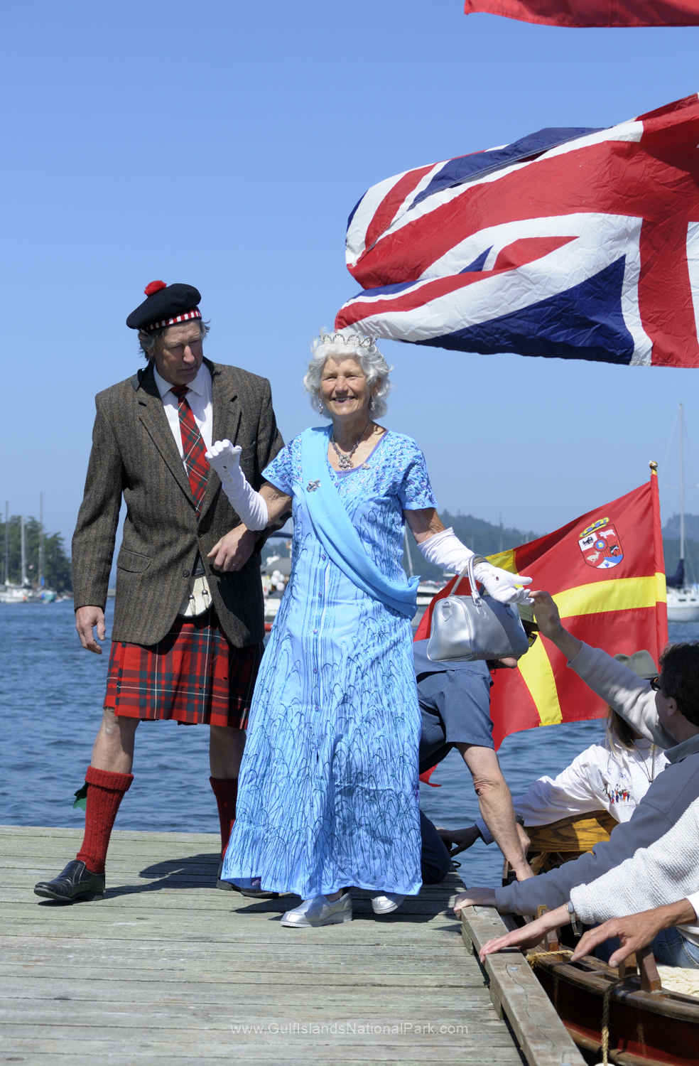The queen arriving at the Saturna Island Lamb BBQ