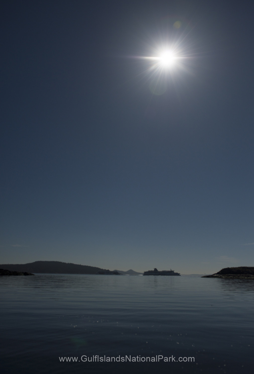 Beautiful shoreline on Portland Island during the solar eclipse