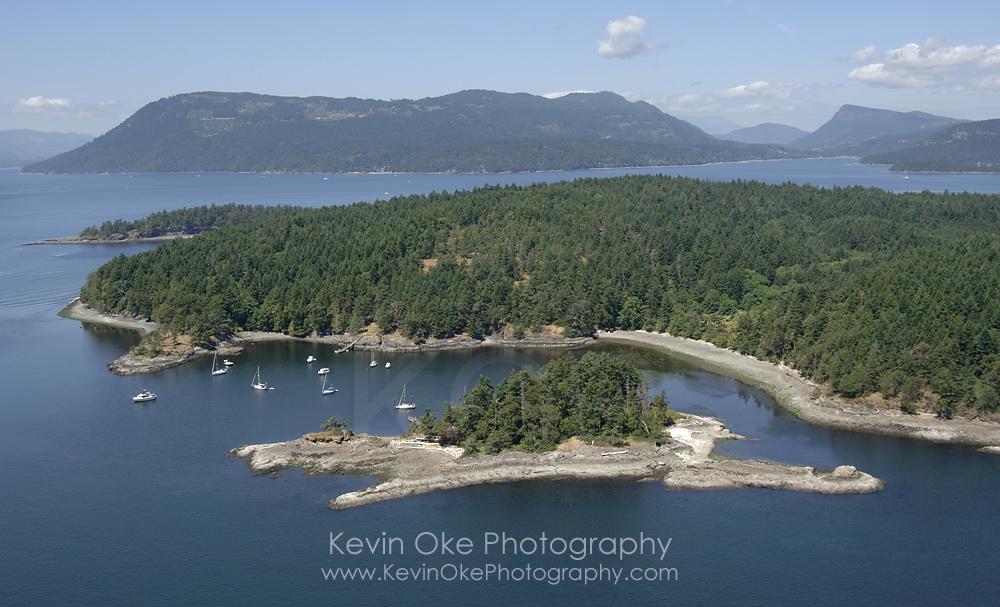 Aerial photo of Princess Bay, Portland Island, Southern Gulf Islands, British Columbia, Canada.