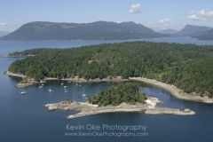 Aerial photo of Princess Bay, Portland Island, Southern Gulf Islands, British Columbia, Canada.