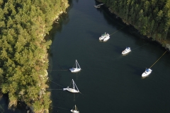 Boats shore tied at Royal Cove at Portland Island in August, Southern Gulf Islands, British Columbia, Canada.