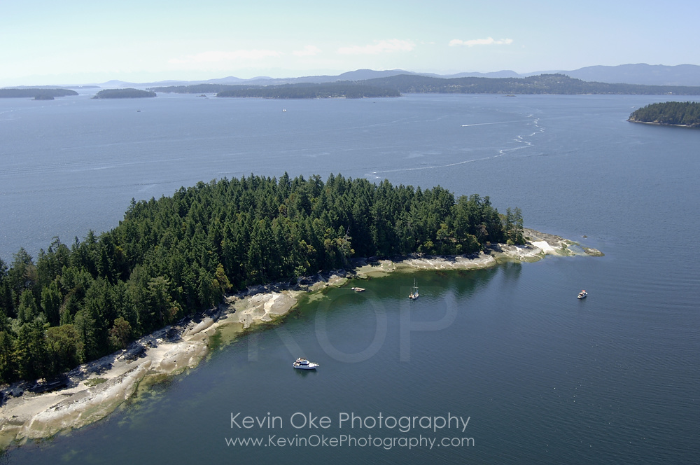 Aerial photograph of anchorage at Russell Island, Gulf Islands National Park Reserve, British Columbia