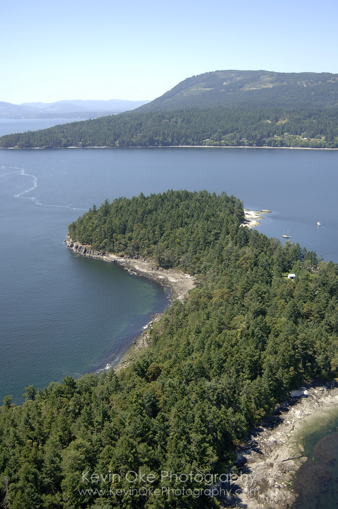 Aerial photograph of Russell Island, Gulf Islands National Park Reserve of Canada, Southern Gulf Islands, British Columbia, Canada.