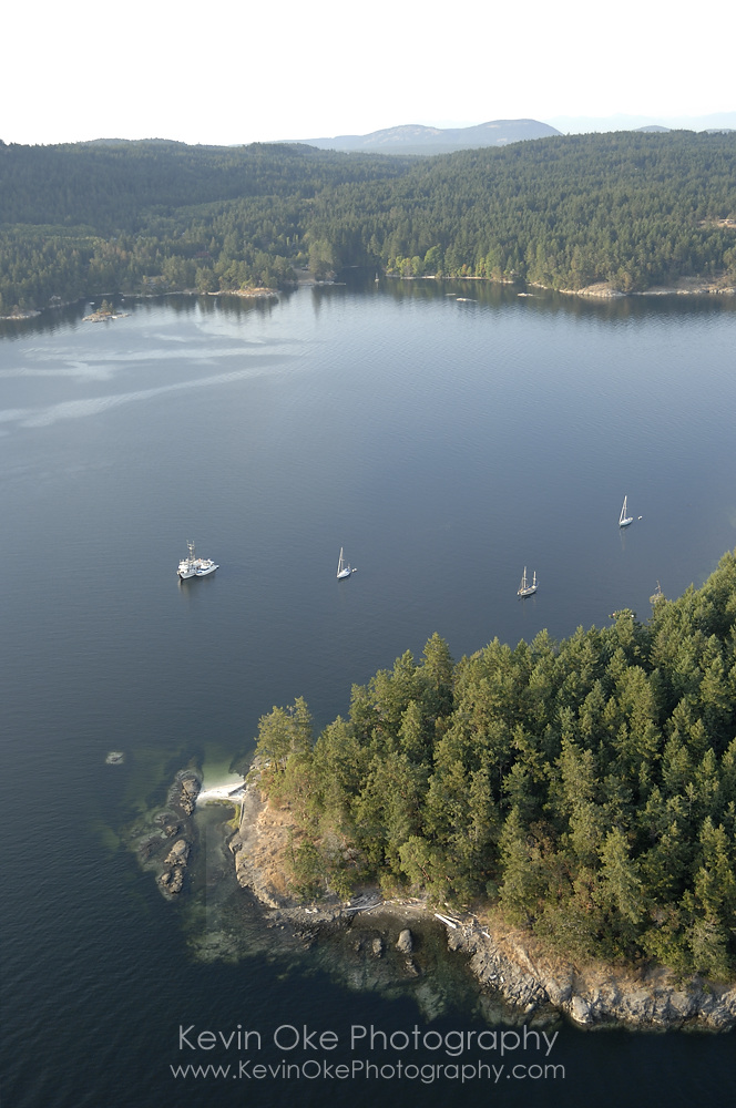 Aerial photo of the anchorage at Russell Island, Southern Gulf Islands, British Columbia, Canada.