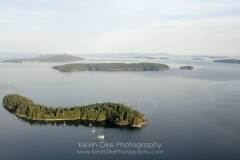 Aerial photo of Russell Island with Portland Island in the background, Gulf Islands National Park Reserve, British Columbia