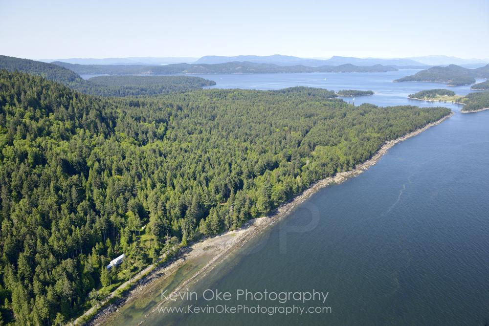 Aerial photo of the east side of Saturna Island on the Georgia Strait, Saturna Island, British Columbia