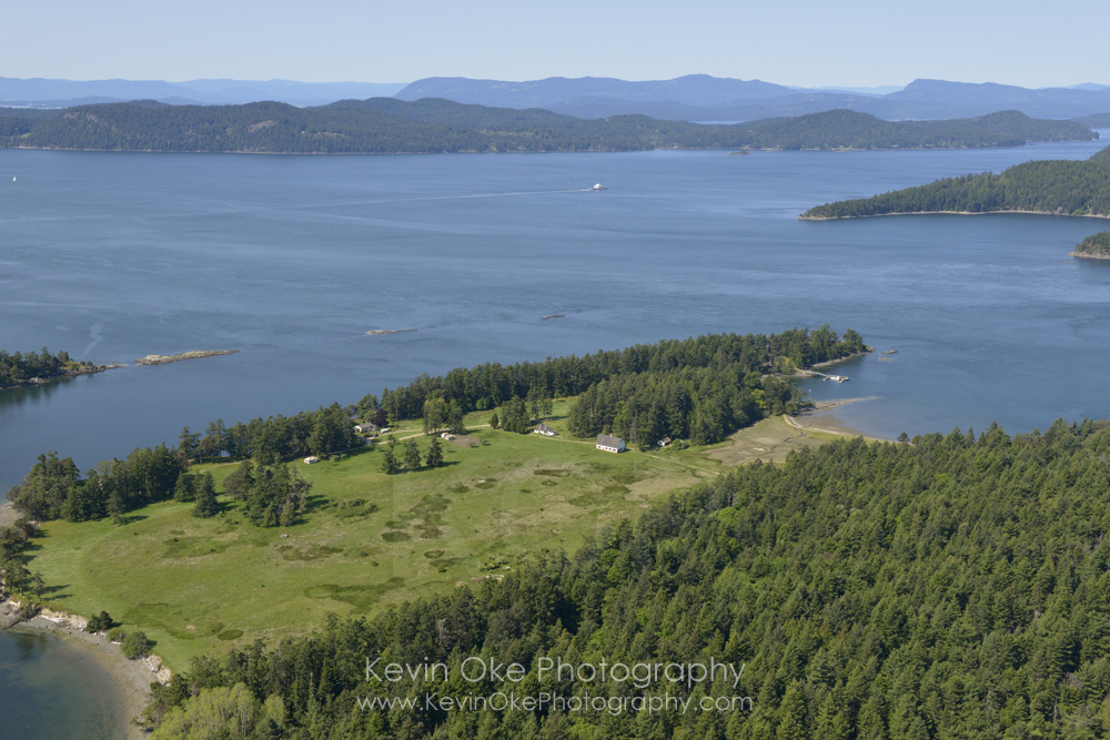 Aerial photograph of Samuel Island with Plumper Sound, British Columbia, Canada.