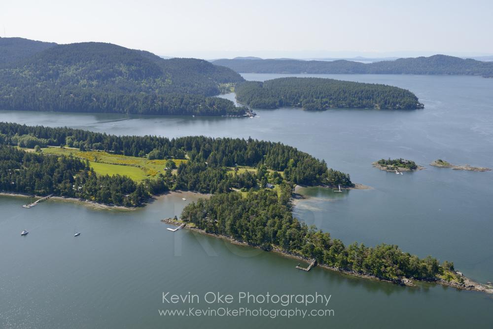 Aerial photo of houses on Winter Cove, Saturna Island. British Columbia, Canada.