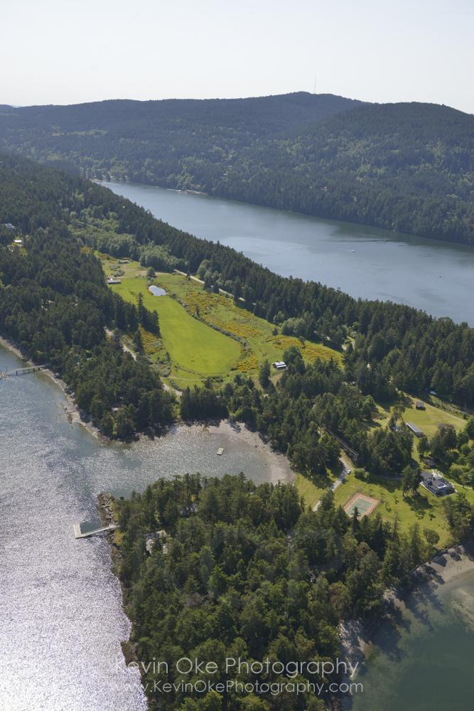 Houses on Winter Cove, Saturna Island. British Columbia, Canada.