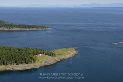East Point Lighthouse aerial photo, Gulf Islands National Park, Saturna Island, British Columbia, Canada.