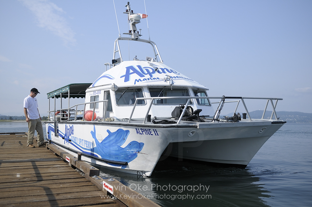 Passenger ferry Alpine II at dock, Sidney Spit, Gulf Islands National Park Reserve of Canada