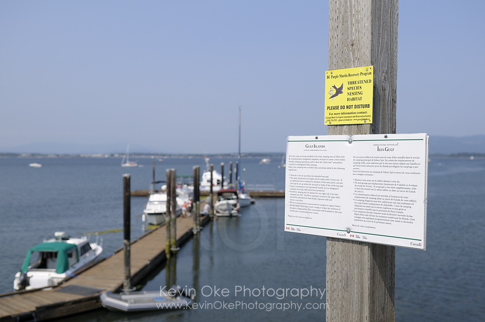 Purple martin recovery program information at the dock, Sidney Spit, Gulf Islands National Park Reserve of Canada