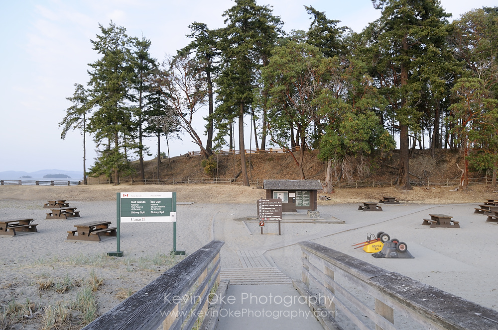 The picnic area at Sidney Spit, Gulf Islands National Park Reserve of Canada