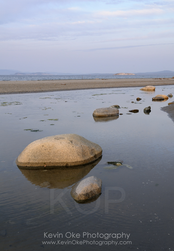 Large smooth rocks exposed at low tide, Sidney Spit, Gulf Islands National Park Reserve of Canada