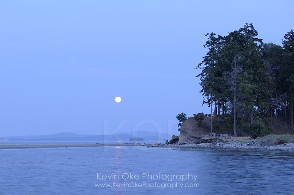 Moonrise over Sidney Spit, Gulf Islands National Park Reserve of Canada