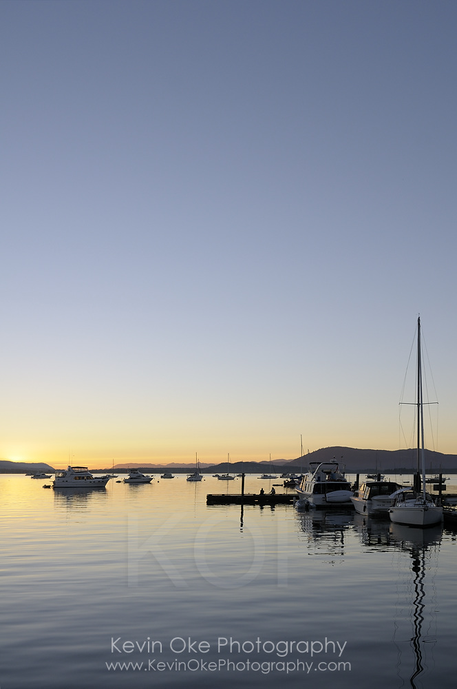 Pleasure boats at dock, Sidney Spit, Gulf Islands National Park Reserve of Canada