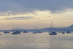 Boats at anchor, Sidney Spit, Gulf Islands National Park Reserve of Canada