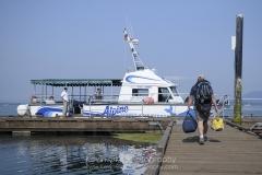 Passenger ferry Alpine II loading passengers, Sidney Spit, Gulf Islands National Park Reserve of Canada