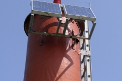Solar panels on the Sidney Spit lighthouse, Sidney Spit, Gulf Islands National Park Reserve of Canada