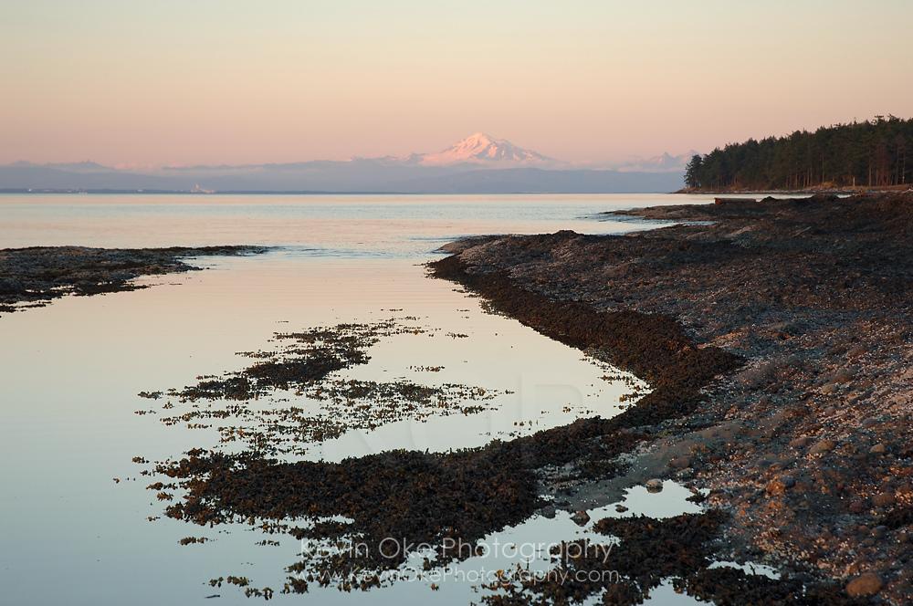 Mt. Baker and Tumbo Island from Cabbage Island, British Columbia