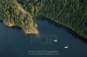 Boats at anchor in Narvaez Bay, Saturna Island