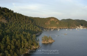 Aerial photo of Poets Cove Resort & Marina and the anchorage at Beaumont Marine Park in Bedwell Harbour, South Pender Island