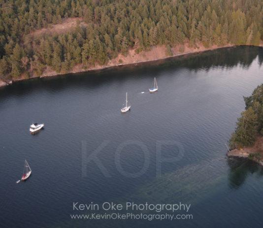 Aerial photograph of Prevost Island, Southern Gulf Islands, British Columbia, Canada